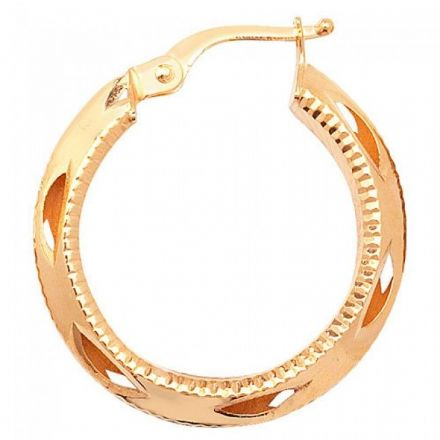 Just Gold Earrings -9Ct Dia Cut Hoop Earrings, ER655